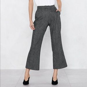 Gray Plaid Flare Leg Pant